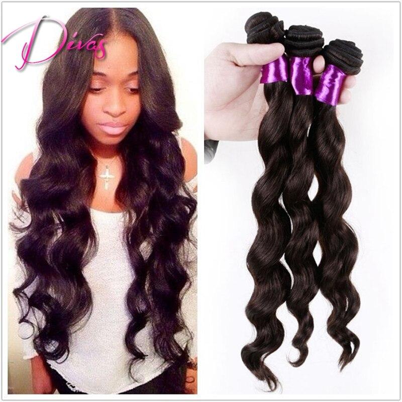 Unprocessed virgin hair extension, Malaysian virgin loose wave hair,6A Grade,human hair extension. 3pcs/lot ,color 1b#,8-28<br><br>Aliexpress