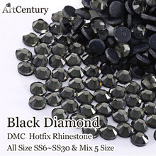 Flatback Crafts Made Black Diamond SS6 SS10 SS16 SS20 SS30 Shiny Glass Heat Transferl Hotfix Rhinestones