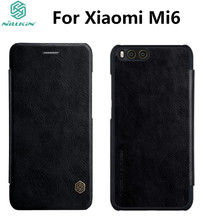 Xiaomi Mi6 Leather Case NILLKIN Qin Series Wallet Flip Cover Case For Xiaomi Mi6 M6 Genuine Flip Leather Case Phone Cover(China)