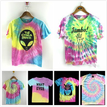 Women Tie Dye Gradient Tees Alien Rainbow Emoji Printed T shirts Femme Street Fashion Summer Tops Large Plus S-XL