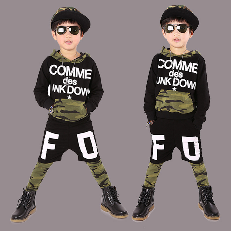 kids hip hop clothing  Long Sleeve Camouflage Athletic Wear Camo Twinset 2017 Spring And Autumn Childrens Garment Suit<br><br>Aliexpress