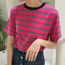 2017 Summer New Fashion Cotton Striped College Wind Fresh Cute Simple Short Sleeve Female T-shirts - Eyam store