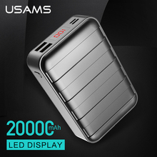 USAMS Universal Dual USB Power bank 20000mAh LED Display Portable phone Charger Powerbank for iPhone Xiaomi Samsung