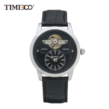 2016 Time100 Men's Mechanical Automatic Self-wind Skeleton Watch Black Leather Strap Military Wrist Watches For Men(China)