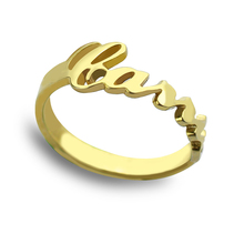 Wholesale Unique Monogram Ring Personalized Name Ring Gold Color Carrie Bradshaw Style Bridesmaid Jewelry Valentine Gift(China)