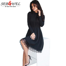 SEBOWEL 2017 New Autumn Elegant Long Sleeve Party Dress Women High Neck Lace Hemline Skater Dresses Femme Black Vestidos S-XL(China)
