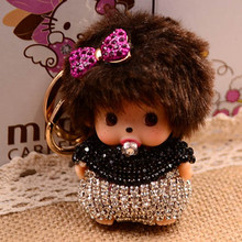 Bow-Knot Rhinestone Monchhichi Gold Metal Keychain Monchichi Car Keyring Purse Messenger Bag Backpack Key Chain Pendant K-061