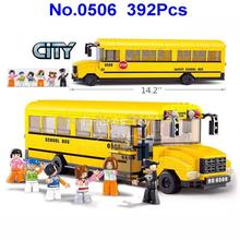 Sluban 0506 392pcs City School Bus Building Block Brick Toy(China)