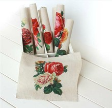 6 Assorted Designs Vintage oil painting Rose Hand Printing Cloth Digital Print 20*20CM Thick Cotton and linen base fabric