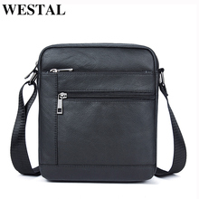 WESTAL Genuine Leather Men's Bags Crossbody Bags Flap Male Messenger Bag Men Leather Small Ipad Holder Shoulder Bag naturally(China)