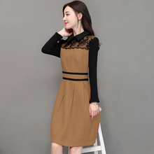2017 New Autumn Women dress Peter pan Collar Woolen Patchwork Lace Slim Sweater Sleeve Dresses Pieces Cherry Red 313(China)