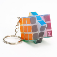 Keychain Magic Cubes 3x3x3 Fluorescent Green Speed Puzzle Cubes Educational Toys for Children Luminous Cube(China)