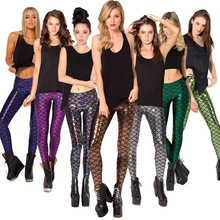 Sales in Europe and America scale multiple code Mermaid bright leather leggings