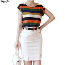 2017 Summer New Arrival O-neck Sleeveless Striped Chiffon Slim Women Tops and Bodycon Skirt 2 Piece Set Casual Women Sets S-XXXL