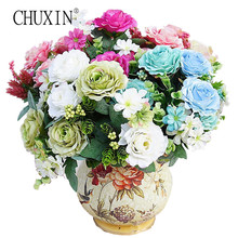 11 heads painting tea rose silk artificial flower wedding decoration Pine nuts peony flowers for home decorative(China)