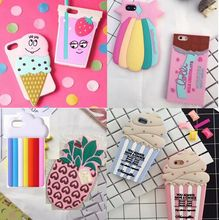 Fancy Food Style Dessert Ice Cream Chocolate Pineapple Jam Cupcake Soft 3D Silicone Case for iPhone 7 6 6S Plus