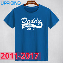 New Summer Style Daddy Since2017 2016 2015 2013 2012 2011 Funny T Shirt Men Short Sleeve Father's Day Dad Born Baby Maternity(China)