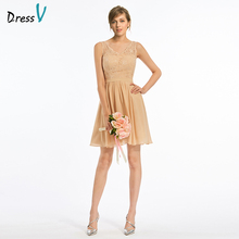 Dressv V Neck Bridesmaid Dress Sleeveless Knee Length A-line Lace Chiffon Simple Wedding Party Dress Bridesmaid Dress Custom(China)