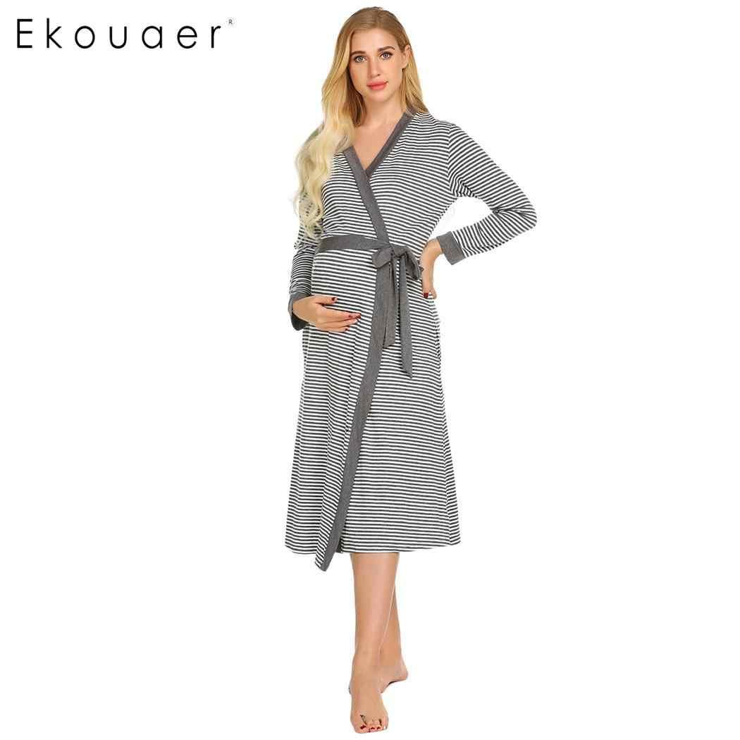Detail Feedback Questions about Ekouaer Women Robe Dressing Gown Pregnant  Sleepwear Loose Open Front Waistband Striped Bath Robes Sleepwear Casual  Nightwear ... 3a0cfd7cb