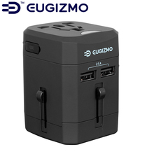 EUGIZMO Universal  US EU UK AU Spec 4 in 1 Travel Charger Dual USB output for AppleIPhones Samsung Mobile Phones Pad Tablet