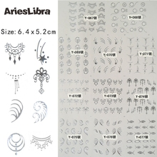 AriesLibra Necklace Design Silver Pattern Design Serie Nail Art Decals Crown Lace Water Transfer Nail Art Decoration