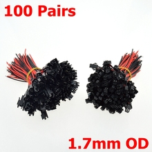 100 Sets 2Pins Female+Male SM Cable Wire Plug Connectors 22AWG 1.7mm OD 2.54mm Pin Pitch For LED Light power cable(China)