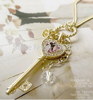 N109 2017 European and American long section of Imitated love golden crown key necklace sweater chain for women girl jewelry