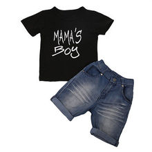 Newborn Summer Kids Baby Boy Outfits Clothes Black Short Sleeve T-Shirt Tops Denim Shorts Clothes Set Letters print Clothin(China)