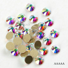 Top quality AAAAA Promotions! SS3-SS30 Crystal AB flatback rhinestone Iron non- Hotfix glue on Strass Shiny More Bright(China)