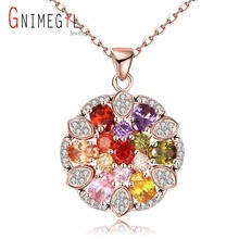 Super Deals Colorful Zircon Gem Stone Pendant Necklace Gold Flower Round Pendant Necklaces Women's Christmas Accessory