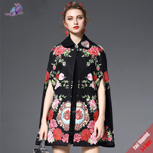 2017 High Quality Winter Cape Poncho Coat Women Brand Designer Outerwear Vintage Floral Embroidery Wool Cloak Overcoat Free DHL(China)
