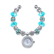Duoya Brand New Arrivals Jewelry European Charm Bracelets Bangles Silver Plated Glass Bead Bracelets Women Watch DY052