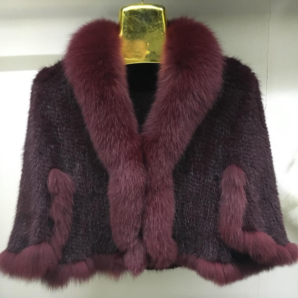 Luxury Mink Fur Shawl For Women Poncho Cape Knitted Genuine Fur Jacket Coat Female Winter Wraps Outerwear (8)