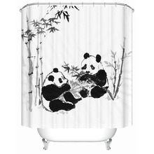 WARM TOUR Chinese Classical Style Panda Shower Curtains Bathroom Curtain Bathroom Products Waterproof Accessories