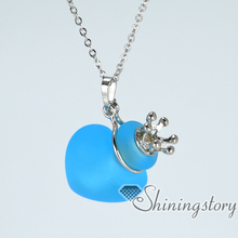 heart small perfume bottles lampwork glass aromatherapy jewelry diffusers essential oil necklace wholesale aromatherapy