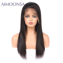 Brazilian Hair Lace Front Human Hair Wigs For Black Women Straight Natural Color Brazilian Hair Womens Wigs Pre Plucked(China)
