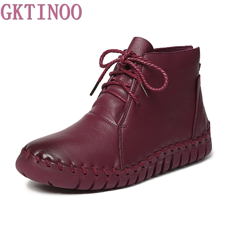 Genuine Leather Women Boots 2018 Spring Autumn Fashion Pleated Ankle Boots Warm Soft Outdoor Casual Flat Shoes shoes woman <br>