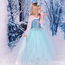 2017 NEW Spring and Summer Hot sale Elsa Anna Cute Girls Party Dress Snow Romance Princess with the Sequins Snow Queen Dress(China)
