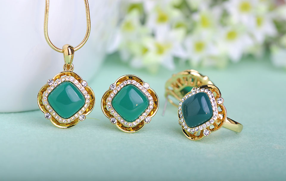 Blucome Fashion Women Jewelry Set Dubai Statement Necklaces Earrings Rings Sets Green Square Rings For Wedding Dresses Brincos