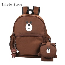 Triple Stone three-pieces composite Shoulder School Bags With Bear Rabbit Pendent Oxford Canvas Waterproof Women Large Backpack