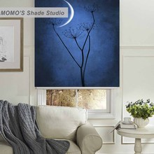 MOMO Blackout Tree Window Curtains Roller Shades Blinds Thermal Insulated Fabric Custom Painting ,PRB set507-510