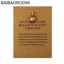 Fashion Jewelry Reminders Accomplish Magnificent Things Starburst Charm Necklace For Women(China)