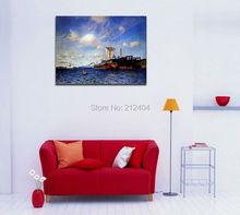 Fashing Boat Sailing on The Sea Famous Oil Painting Blue Canvas Prints Art for LIving Room Bedroom Decor