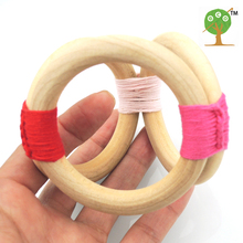 2017 new 15 colors to choose Teether Toddler Shades of Red Crochet wooden Teething Rings baby girl gift ET51