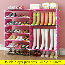 DIY Simple 14 Layer Waterproof Shoe Rack Shelf Durable Non-woven Metal Steel Pipe Fabric Shoes Boots Storage Organizer Stand