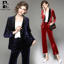 autumn winter woman outfit black collar dark blue red velvet suit outfit blazer jacket pants fashion normcore office outfit suit(China)
