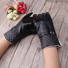 2017 Winter Stylish Black PU Leather Gloves with plaid Pattern Fashion Design Femme Gloves Mittens for Women Girls Warm Glove(China)