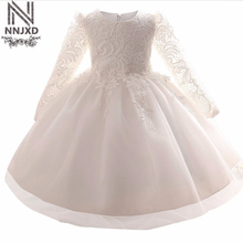 White Baby Christening Children's Costumes Kids Clothing for Wedding Girls Dresses Princess Clothes Birthday Party Girl Dress