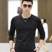 Spring Autumn Casual Wear Full Sleeve Male Tops V-neck Good Quality Men T-shirts Simple Solid Hot Sale Fashion Style Comfortable(China)