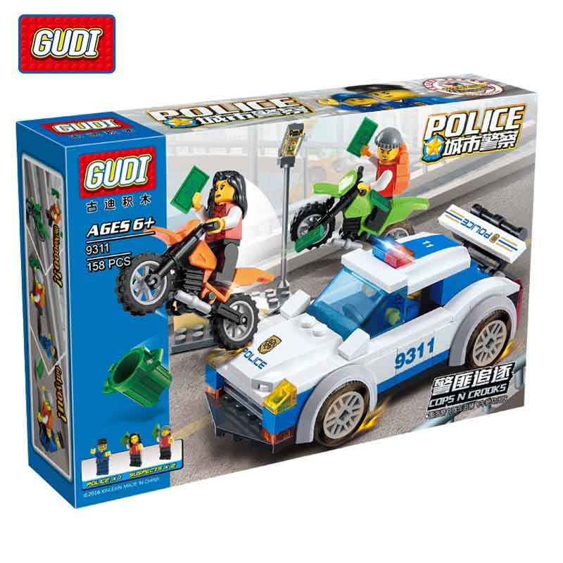 GUDI City Police Series Building Block Compitable  Police Chase Block Assembled Toys Cops N Crocks Children Toys Gift<br><br>Aliexpress